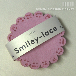 Smiley-lace coasters PINK