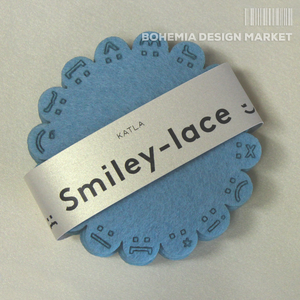 Smiley-lace coasters BLUE