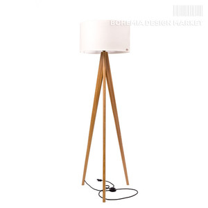 Wooden floor lamp Lusito Tripod Creme - natural oak
