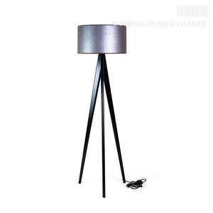 Wooden floor lamp Lusito Tripod Luxury silver black oak
