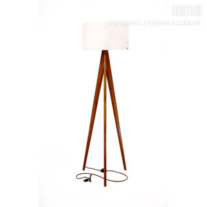 Wooden floor lamp Lusito Tripod White - natural walnut
