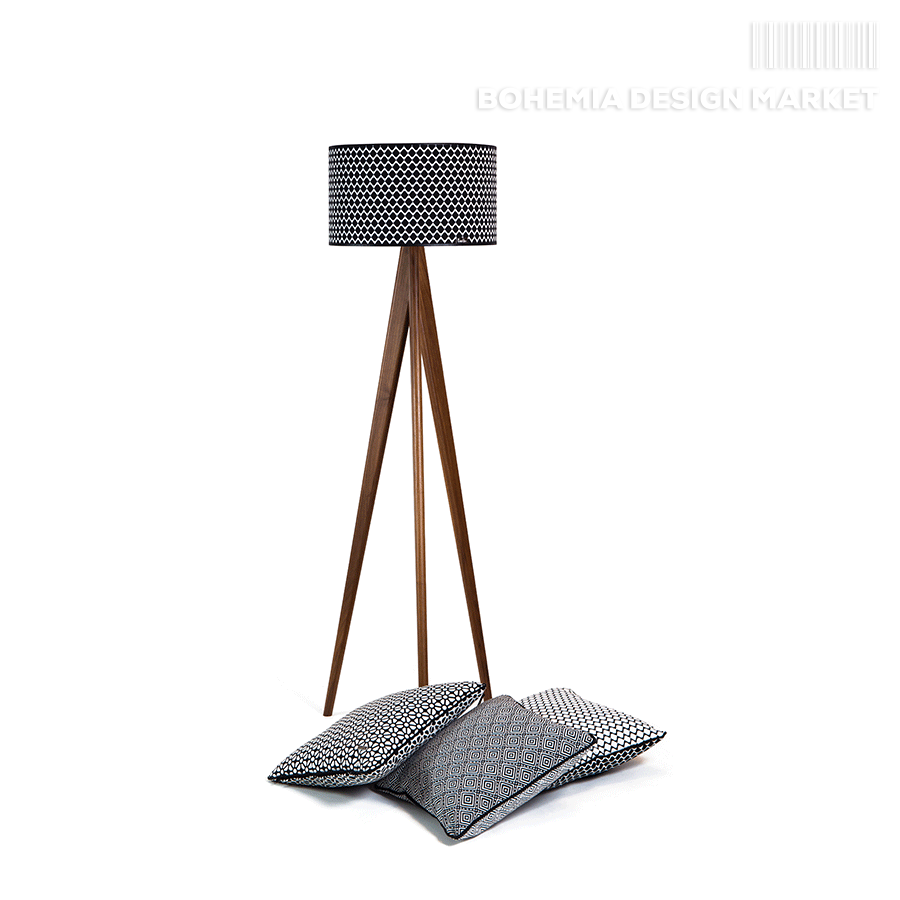 Wooden floor lamp lusito tripod black white natural walnut elegant wooden floor lamp is beautiful accessory for your apartment thanks to the fine details like is polished metal sleeve luxury logo on the lampshade aloadofball Images