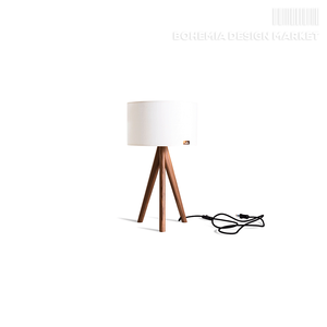 Table lamp Lusito Tripod mini Luxury Linen White natural walnut