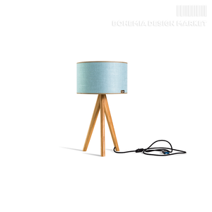 Table lamp Lusito Tripod mini Luxury Linen Blue dub natural