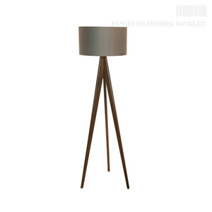 Wooden floor lamp Lusito Tripod Black & White natural walnut ...