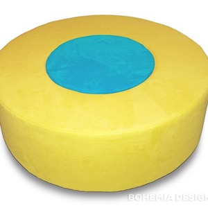Donut Pouf yellow/turquoise