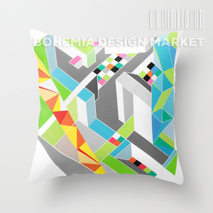 COLORFUL THROW PILLOW COVER - paralel worlds
