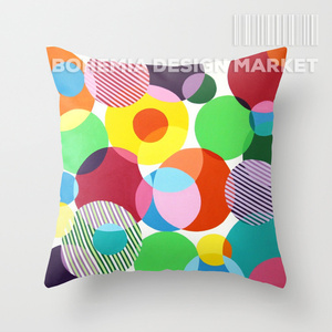 COLORFUL THROW PILLOW COVER - bubbles 2