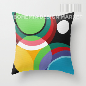 COLORFUL THROW PILLOW COVER - touches of circles