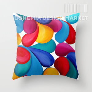 COLORFUL THROW PILLOW COVER - DROPS OF JOY