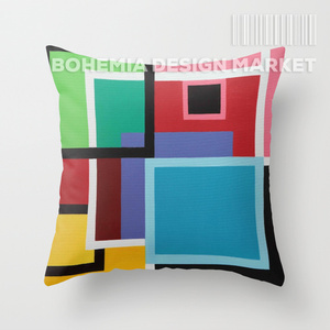 COLORFUL THROW PILLOW COVER - TOUCHES OF SQUARES